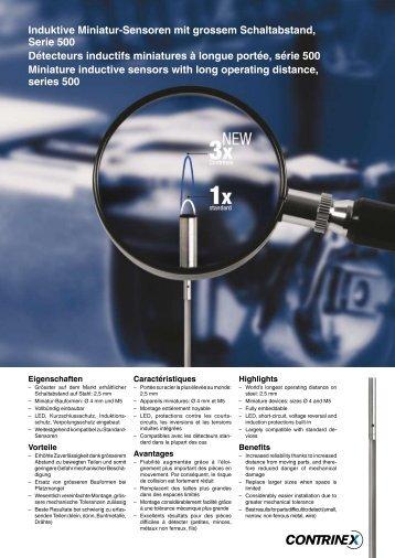 Induktive Miniatur-Sensoren mit grossem Schaltabstand, Serie 500 ...