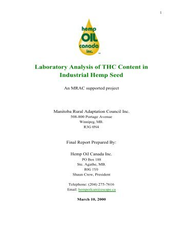 Laboratory Analysis of THC Content in Industrial ... - The Hemp Report