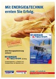Mit ENERGIE&TECHNIK ernten Sie Erfolg. - Energie & Technik