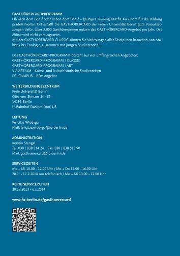 gasthörercard classic - Freie Universität Berlin