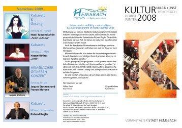 Vorschau 2009 Kabarett & Gesang Kabarett HemsbacHer Gitarren ...