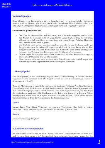 Hendrik Mäkeler Lehrveranstaltungen: Zitierrichtlinien ...