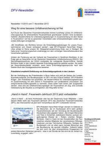 DFV-Newsletter 11/2013 - Deutscher Feuerwehrverband