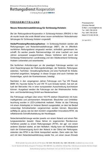 Neues Notarzteinsatzfahrzeug für Schleswig-Holstein - RKiSH