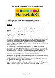 Auszug aus dem Schulklassenprogramm Halle 3 - HanseLife