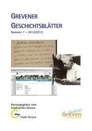 Grevener Geschichtsblätter 7 - Stadt Greven