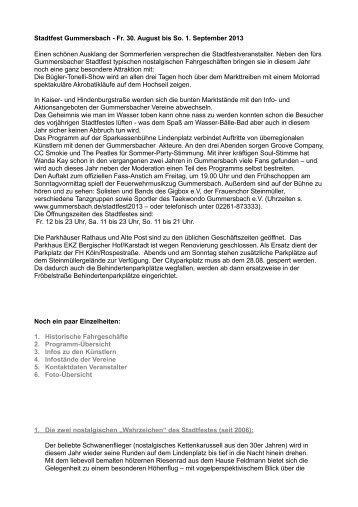 Stadtfest Gummersbach - Fr. 30. August bis So. 1. September 2013 ...