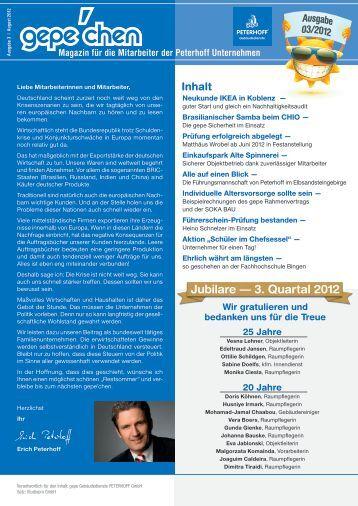 Jubilare — 3. Quartal 2012 - GePe Peterhoff