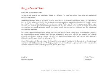 DE LE Chalet Menü 2013 - Best of Swiss Gastro