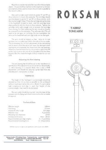 Tabriz User Manual - Henley Designs Ltd.