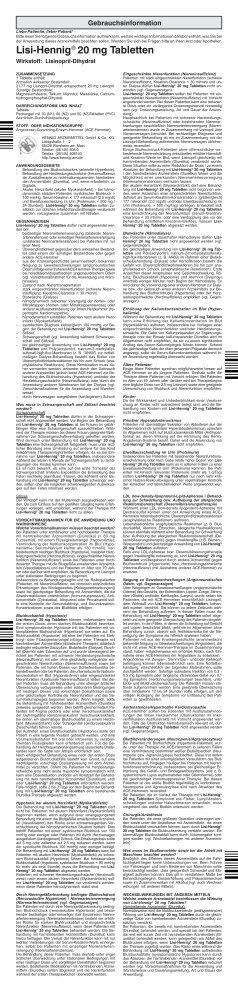 Lisi-Hennig® 20 mg Tabletten - HENNIG ARZNEIMITTEL
