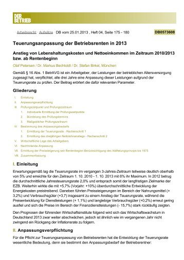 Teuerungsanpassung der Betriebsrenten in 2013 - Aon