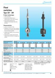 Float switches Type 321 - 391 - Hennlich