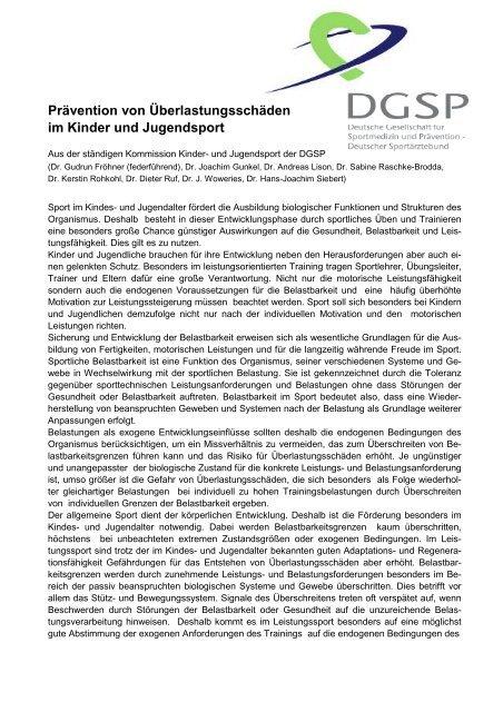 Prävention von Überlastungsschäden im Kinder - DGSP