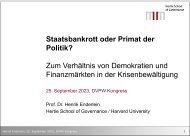 Staatsbankrott oder Primat der Politik? - Prof. Dr. Henrik Enderlein