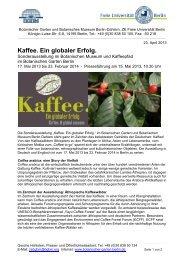 Kaffee. Ein globaler Erfolg. - Botanischer Garten und Botanisches ...