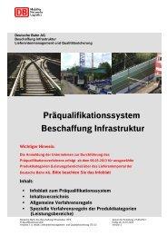 Präqualifikationssystem Beschaffung Infrastruktur - Deutsche Bahn AG