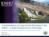 Considerations of Large Scale Recharge in the ESPA – a State ...