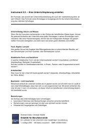 Instrument 2.2. – Eine Unterrichtsplanung erstellen