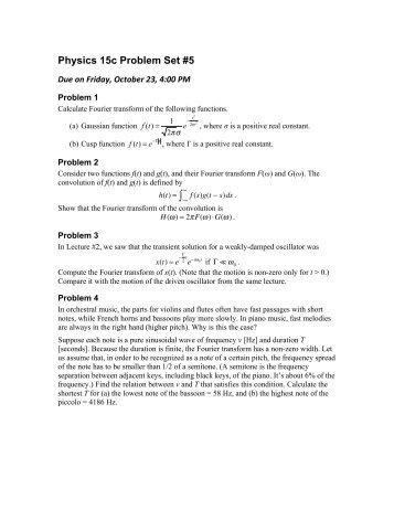 Physics 15c Problem Set #5