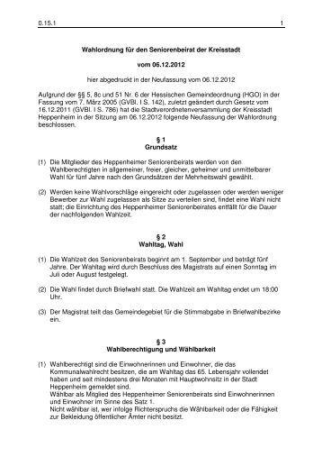 0.15.1 Wahlordnung Seniorenbeirat - Heppenheim
