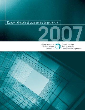 2007 Rapport d'étude et programme de recherche