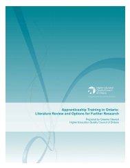 Apprenticeship Training in Ontario: Literature ... - se www.heqco.ca.