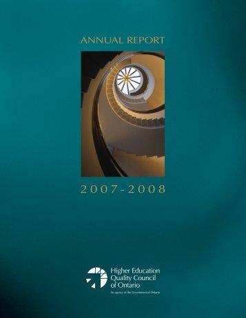2007/08 Annual Report - se www.heqco.ca.