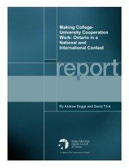 Making College- University Cooperation Work: Ontario ... - ONTransfer
