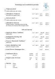 Weinkarte - Hotel und Restaurant Seeklause