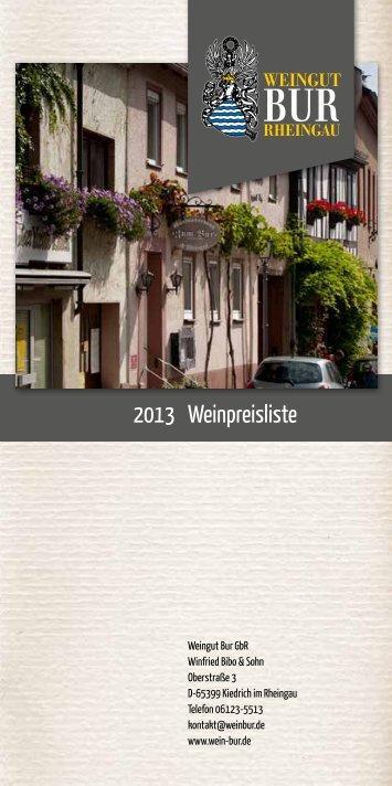 Weinpreisliste 2013 - Weingut Bur