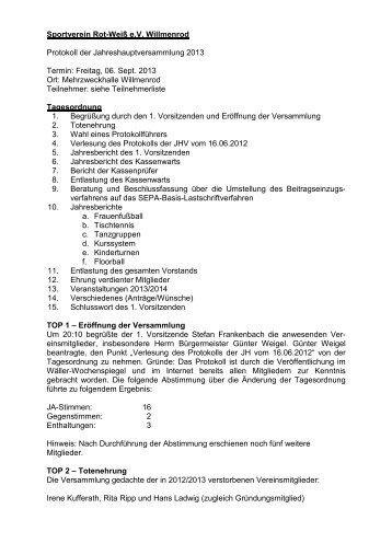 Freitag, 06. Sept. 2013 Ort: Mehrzweckha - Sportverein Rot-Weiß eV ...