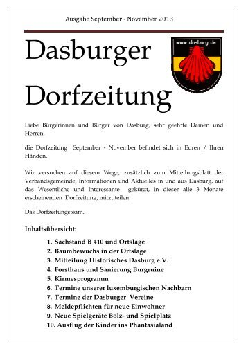 Dorfzeitung September - November 2013 - Dasburg