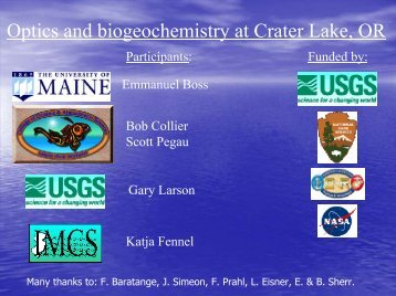 Optics and biogeochemistry at Crater Lake, OR - Maine In-situ ...