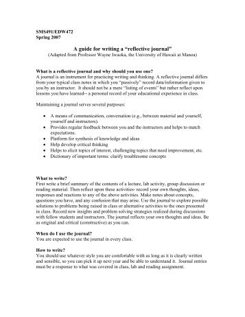 "A guide for writing a ""reflective journal"""