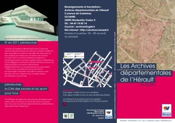 Les Archives départementales de l'Hérault - Conseil Général de l ...