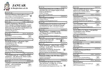 Monatlicher Veranstaltungskalender - Januar 2014 - Burgkirchen