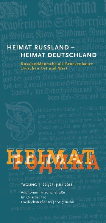HeImAT russlAnD – HeImAT DeuTscHlAnD - Deutsche Gesellschaft ...