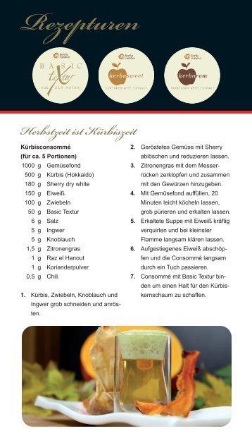 Kürbisconsommé mit Kürbisschaum, gebackene ... - herbacuisine