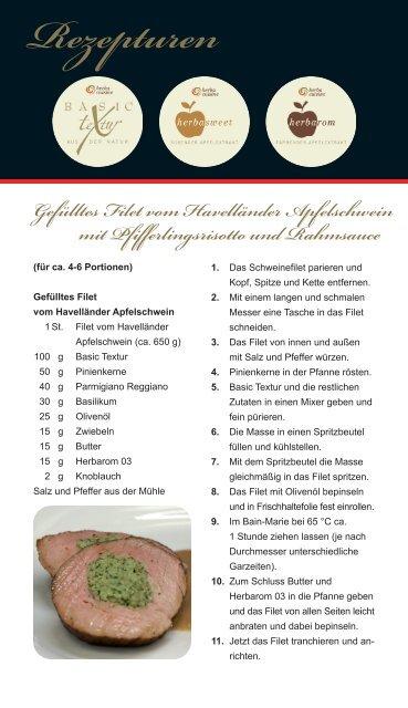 Gefülltes Filet vom Havelländer Apfelschwein mit ... - herbacuisine
