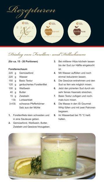 """Rezepturen """"Dialog von Forellen- und Dillschaum"""" - herbacuisine.de"""