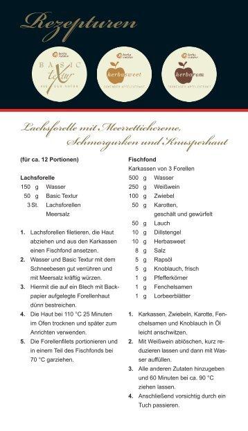 Lachsforelle mit Meerrettichcreme, Schmorgurken ... - herbacuisine.de