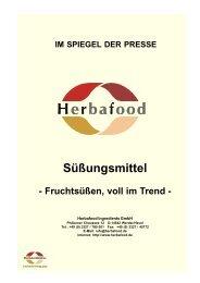 Fruchtsüßen, voll im Trend - Herbafood Ingredients GmbH