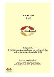 Neues aus F+E - Herbafood Ingredients GmbH