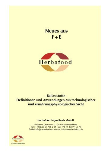 Neues aus F+E - Herbafood Ingredients GmbH