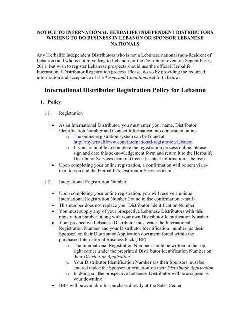 International Distributor Registration Policy for Lebanon - Herbalife