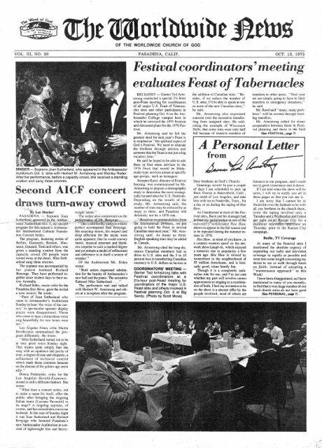 WWN 1975 (No 20) Oct 13 - Herbert W. Armstrong Library and ...