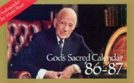 God's Sacred Calendar - Herbert W. Armstrong Library and Archives