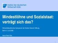 Mindestlohn und Kosten des Kombilohns - Herbert Giersch Stiftung