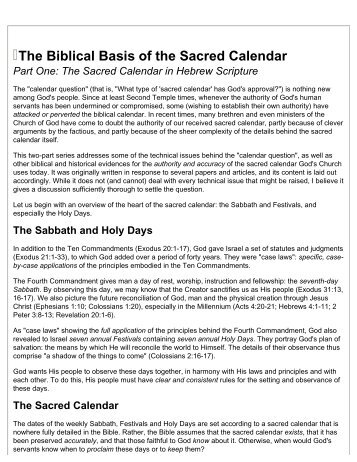 The Biblical Basis of the Sacred Calendar Part One